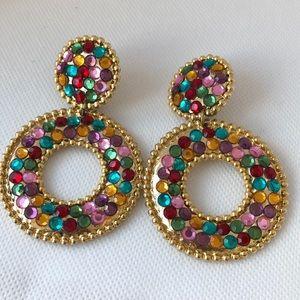 Huge dangle crystal hoop clip on earrings